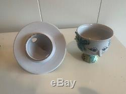 Vintage bjorn wiinblad studio pottery vase & top hat covered bowl mid century