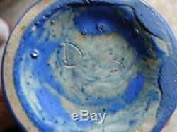 Vintage mrkd D-3 Muncie Studio Art Pottery Matte Blue Glazed Vase