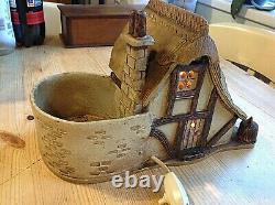 Vintage studio pottery lamp thatched cottage light plant pot beautiful detail