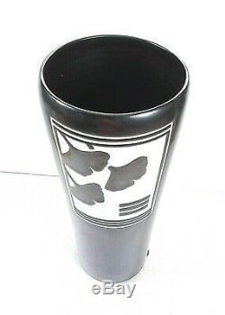 Vtg 14 Reid Ozaki Porcelain Studio Art Pottery Vase Black White Ginkgo Leaf