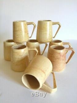 Vtg 1964 MID Century Modern Studio Pottery Butter Yellow Ceramic Mugs 8pc Set
