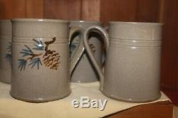 Vtg 1990 Jugtown Ware Studio Pottery Hand Thrown Glazed Coffee Mugs