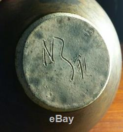 Vtg 1991 studio art pottery coppery raku vase gold lip rim pink signed NB NR NZ