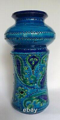 Vtg BLUE VASE Created in Italy for Rosenthal Netter Ceramic Pottery Studio #69/3