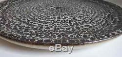 Vtg Clyde Burt 1960s MCM Mid Century Studio Pottery Fat Lava Burst Glaze Charger