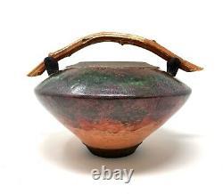 Vtg Contemporary Signed Colorful Raku Style Studio Art Pottery Vase with Handle