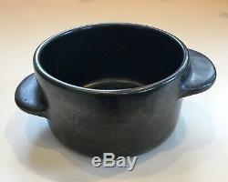 Vtg EUGENE DEUTCH Signed Studio Art Pottery MCM Black Offset Handle Bowl 1950