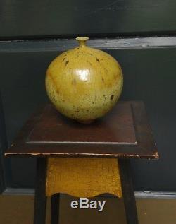 Vtg Edward Cromey CALIFORNIA Studio Pottery Weed Pot MCM Yellow Doyle Lane Era