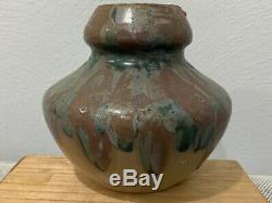 Vtg Ex Museum Studio Pottery Stoneware Copper Rutile Glaze Vase Marked Fulper