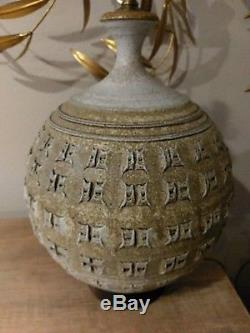 Vtg Large Studio Pottery Ceramic Table Lamp Cressey Kinzie Mid Century Modern