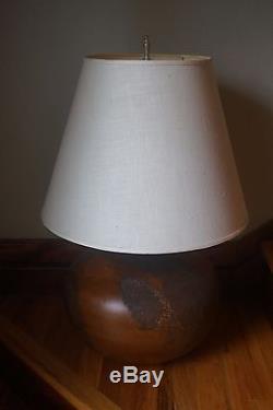 Vtg Large Studio Pottery Stucco Table Lamp Art Deco Retro Lighting Brown