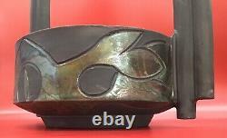 Vtg Large studio pottery Signed raku mid century black handled basket ikebana