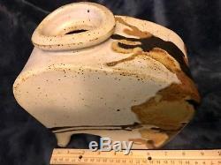 Vtg MCM Studio Slab Built Stoneware Pottery Ceramic Abstract Vase Marked 8 x 8