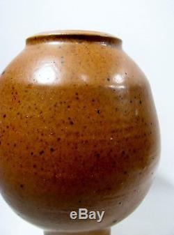 Vtg MIDCENTURY Studio POTTERY Organic 11 Footed BALL Vase SIGNED Danish Modern