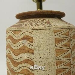 Vtg MID CENTURY 1979 STONEWARE Studio Pottery Incised Earthy Table LAMP Signed