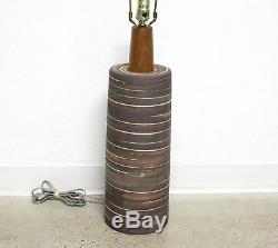 Vtg MID CENTURY Modern Gordon Jane Martz Marshall Studios Pottery Lamp Incised L