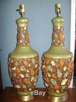 Vtg MID Century Modern Pottery Florence Studio Art Lamps Abstract Orange Glaze