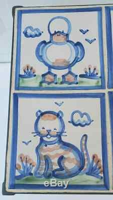 Vtg M. A. HADLEY Pottery Iron Tile CUSTOM STUDIO Table Duck Sheep Kitten Table