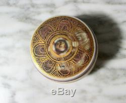 Vtg Mary Rich British Studio Art Pottery Porcelain Trinket Stash Box Gold Signed