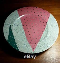 Vtg Masuo Ojima Studio Art Pottery bowl platter Memphis era pink teal geometric