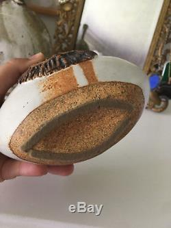 Vtg Mid Century Ceramic Studio Pottery Vase Vessel Sculpture Hullow Style