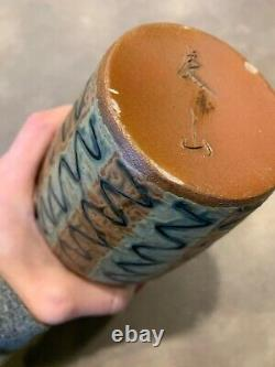 Vtg Mid Century Japanese Redware Studio Pottery Vase Stripes Abstract Textured