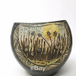 Vtg Mid Century Japanese Signed Studio Pottery Vase Etched Wheat Floral Relief