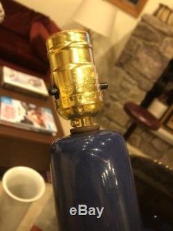 Vtg Mid Century Modern Jane Gordon Martz Marshall Studios Blue Pottery Lamp