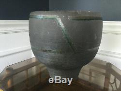 Vtg Mid Century Modern Large Ceramic Studio Raku Style Pottery Planter Signed