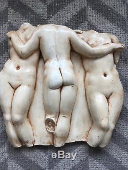 Vtg Mid Century Modern Plaster Nude Women Torso Figures Studio Pottery Wall Art