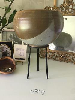 Vtg Mid Century Modern Stoneware Ceramic Studio Pottery Planter Vessel Sculpture