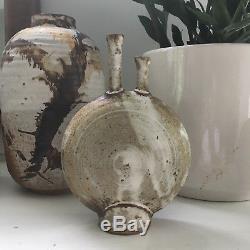 Vtg Mid Century Modern Stoneware Ceramic Studio Pottery Vase Vessel Sculpture