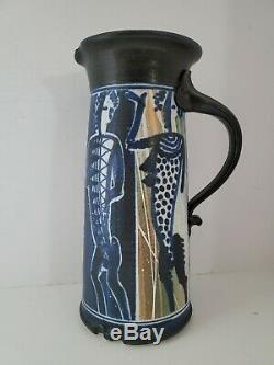 Vtg Mid Century Modern Studio Art Pottery Pitcher Signed & Stamped Stuart