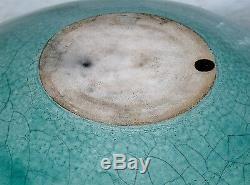 Vtg Mindy Brunn Raku Studio Southwestern Turquoise Pottery Bowl Vase Spider Web