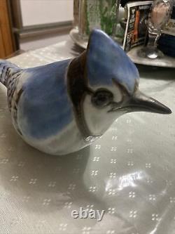 Vtg RARE Andersen Design Studio Bluejay Blue Jay Art Pottery Bird Figurine 11