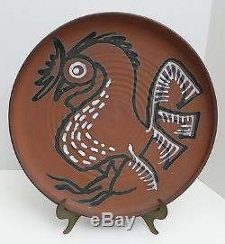 Vtg RAYMOND GALLUCCI Studio Pottery 15 ROOSTER CHARGER Allentown Pa Baum School