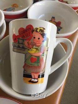 Vtg Rosanna Studio Retro Valentine's Day Card Plates Mugs Bowls Platter 24 Pc