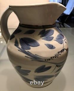 Vtg Simon Pearce Blue Birds Handpainted Studio Art Pottery Jar/Pitcher. 8H