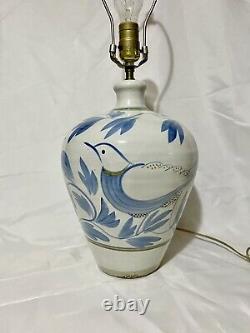 Vtg Simon Pearce Miranda Thomas Blue Birds Handpainted Studio Art Pottery Lamp