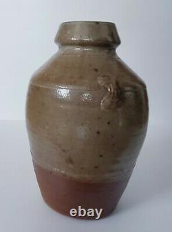 Vtg Studio Pottery Stoneware Ceramic Gray Brown Vase Vessel Glazed Stamped S. R