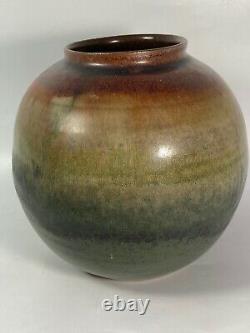 Vtg Studio Pottery Vase Bowl Brown Gold Green Blue Glaze Signed Eliza Branman