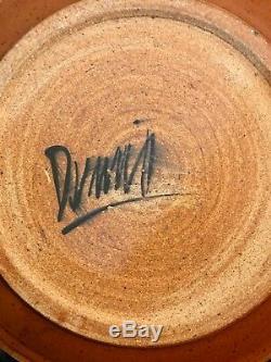 Vtg Studio Stoneware Pottery Ceramic Charger Plate Modernist Glaze Signed 18.5