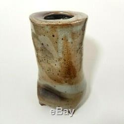 Vtg studio art pottery vase Shino glaze abstract mid century modern signed 8.5