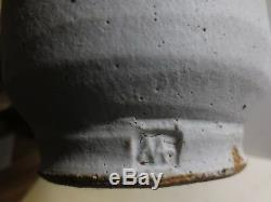 Warren Mackenzie Lg Vintage Studio Pottery Vase With Green & Nuka Glaze, Marked