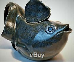 Wayne Shadburne Vintage 1991 Studio Art Pottery Stoneware Fish Tea Pot Signed